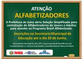 PREFEITURA DE JUÍNA ABRE INSCRIÇÕES PARA ALFABETIZADORES DE JOVENS E ADULTOS