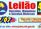 Prefeitura de Juína Realizará Leilão de Veículos, Maquinas e Sucatas