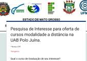 Pesquisa de Interesse para oferta de cursos na UAB Polo Juína.