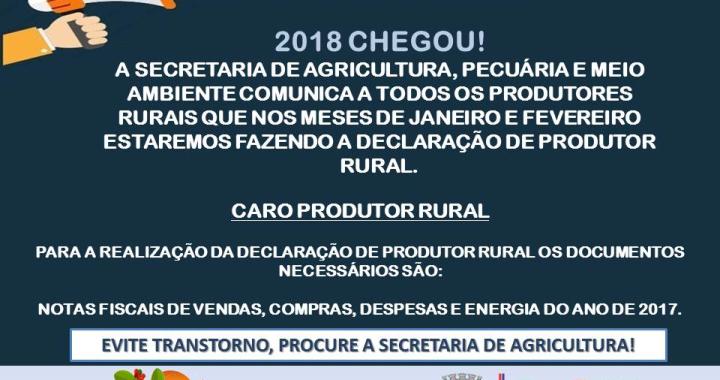 COMUNICADO DECLARAÇÃO DE PRODUTOR RURAL
