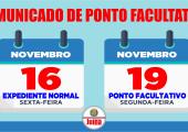 Prefeitura Municipal de Juína terá expediente normal no dia 16 e no dia 19 de novembro será ponto facultativo