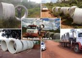 COMEÇARAM A CHEGAR OS TUBOS DE 1,50M PARA CONSTRUÇÃO DE ATERRO NO RIO PERDIDO, SAÍDA DA LINHA 5
