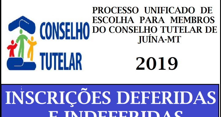 LISTA DAS INSCRIÇÕES DEFERIDAS E INDEFERIDAS DOS CANDIDATOS A VAGA DE CONSELHEIRO TUTELAR DE JUÍNA