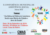 X CONFERÊNCIA MUNICIPAL DE ASSISTÊNCIA SOCIAL ACONTECERÁ NO DIA 26 DE SETEMBRO