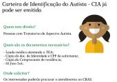 ASSISTÊNCIA SOCIAL INFORMA: CARTEIRA DE IDENTIFICAÇÃO DO AUTISTA - CIA JÁ PODE SER EMITIDA
