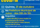 """Dia """"D"""" de vacinação contra a Covid-19 nessa quinta 21/10"""